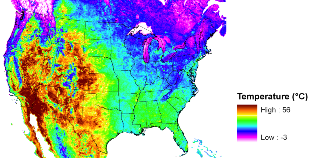 Desert Songbirds At Risk In A Warming Climate - Us july temperature map