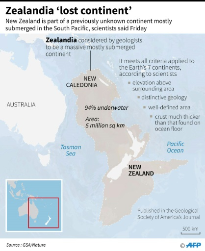 Map Showing The Region Where Researchers Said Was A Previously Unknown  Continent Submerged Beneath New Zealand