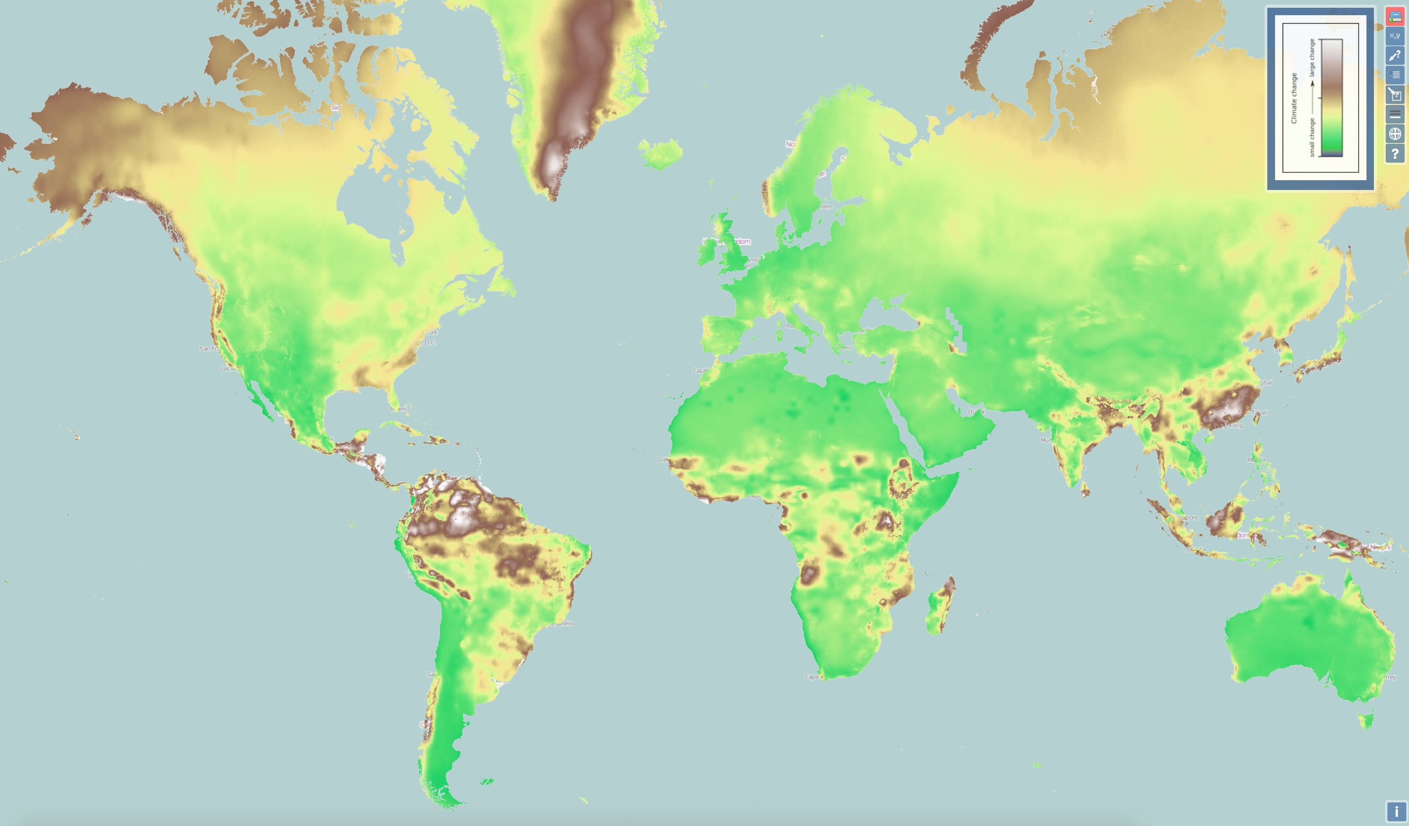interactive map shows climate change everywhere in world