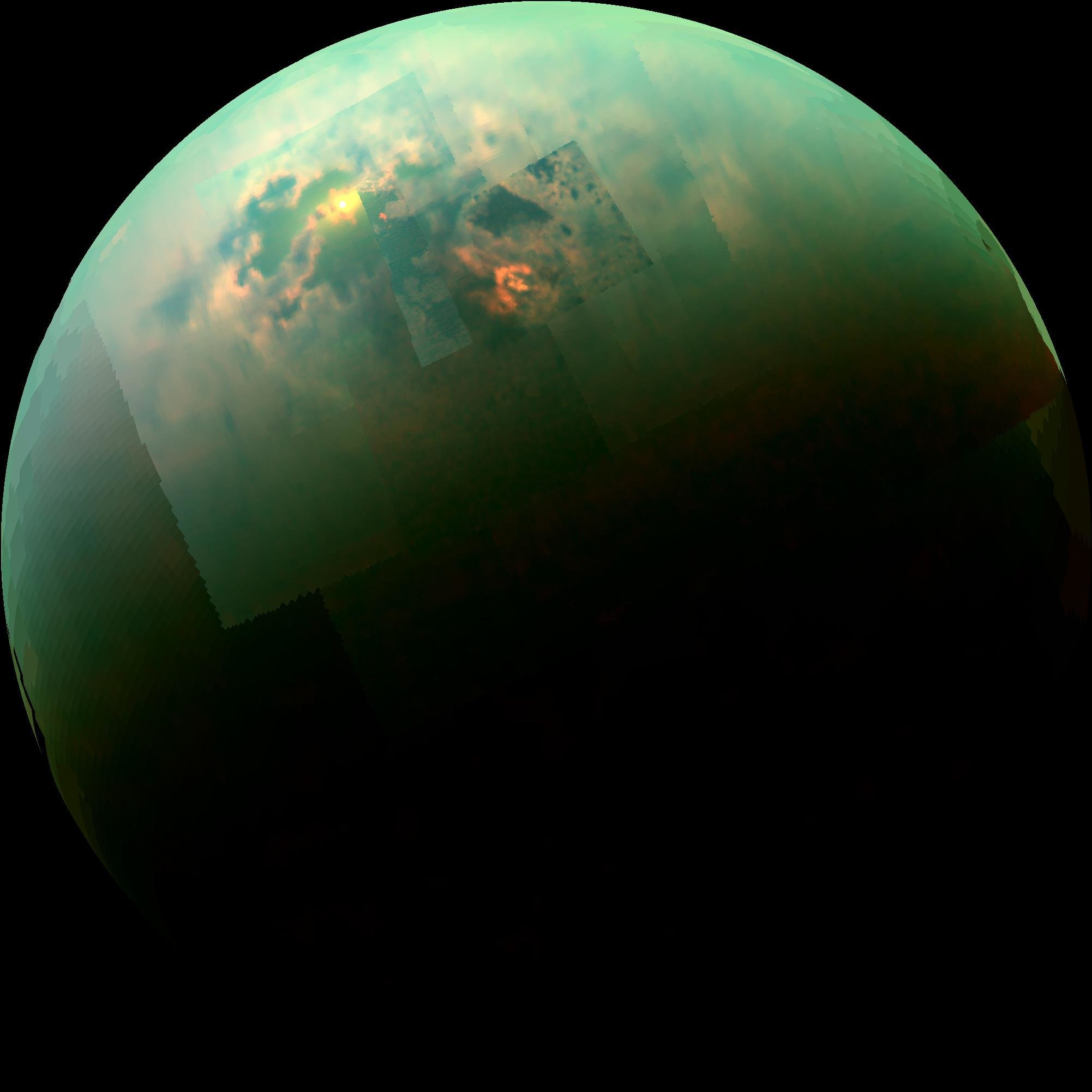 Sunlight Glints Off Of Titans Northern Seas This Near Infrared Color Mosaic From NASAs Cassini Spacecraft Credit NASA JPL Univ Arizona Idaho
