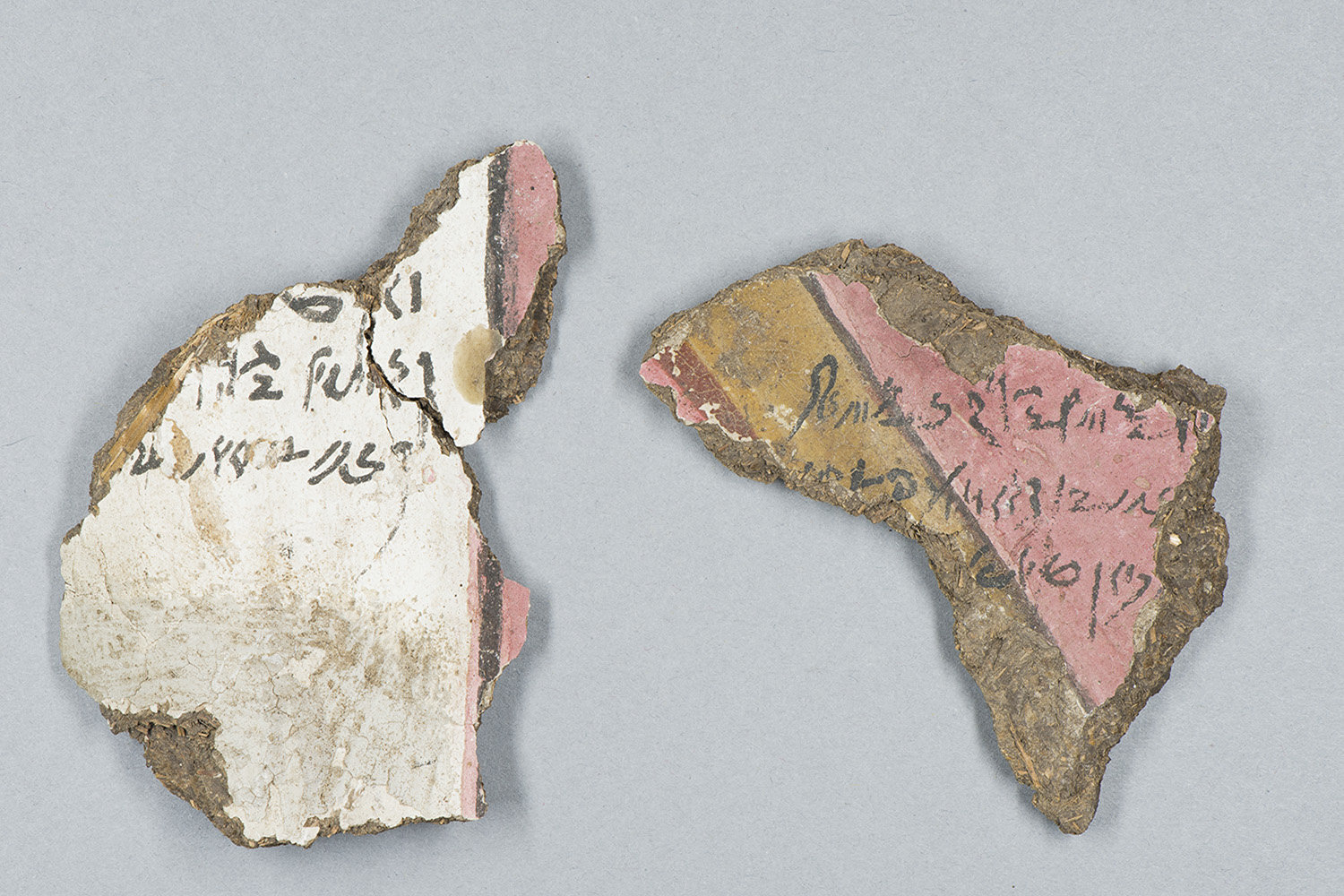 Ariela Algaze found that two fragments of the cartonnage she studied contained ancient Egyptian writing. Credit: Christina Hodge