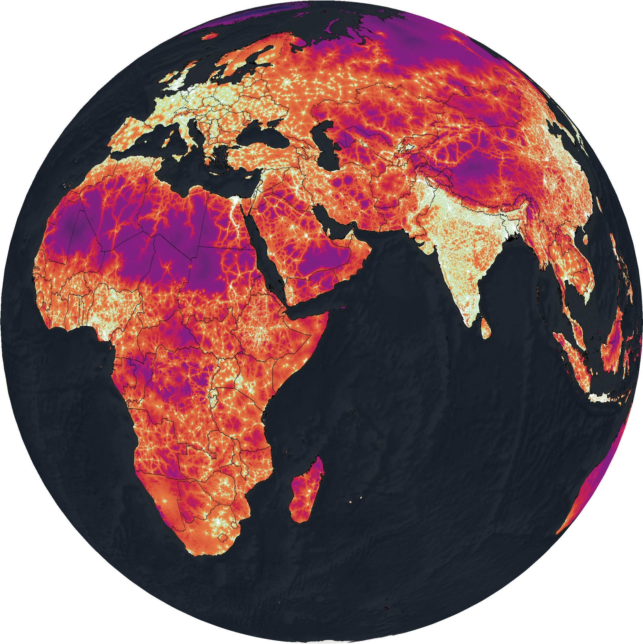 Globe Map Pictures.Maps That Show Travel Times To Cities All Across The Globe