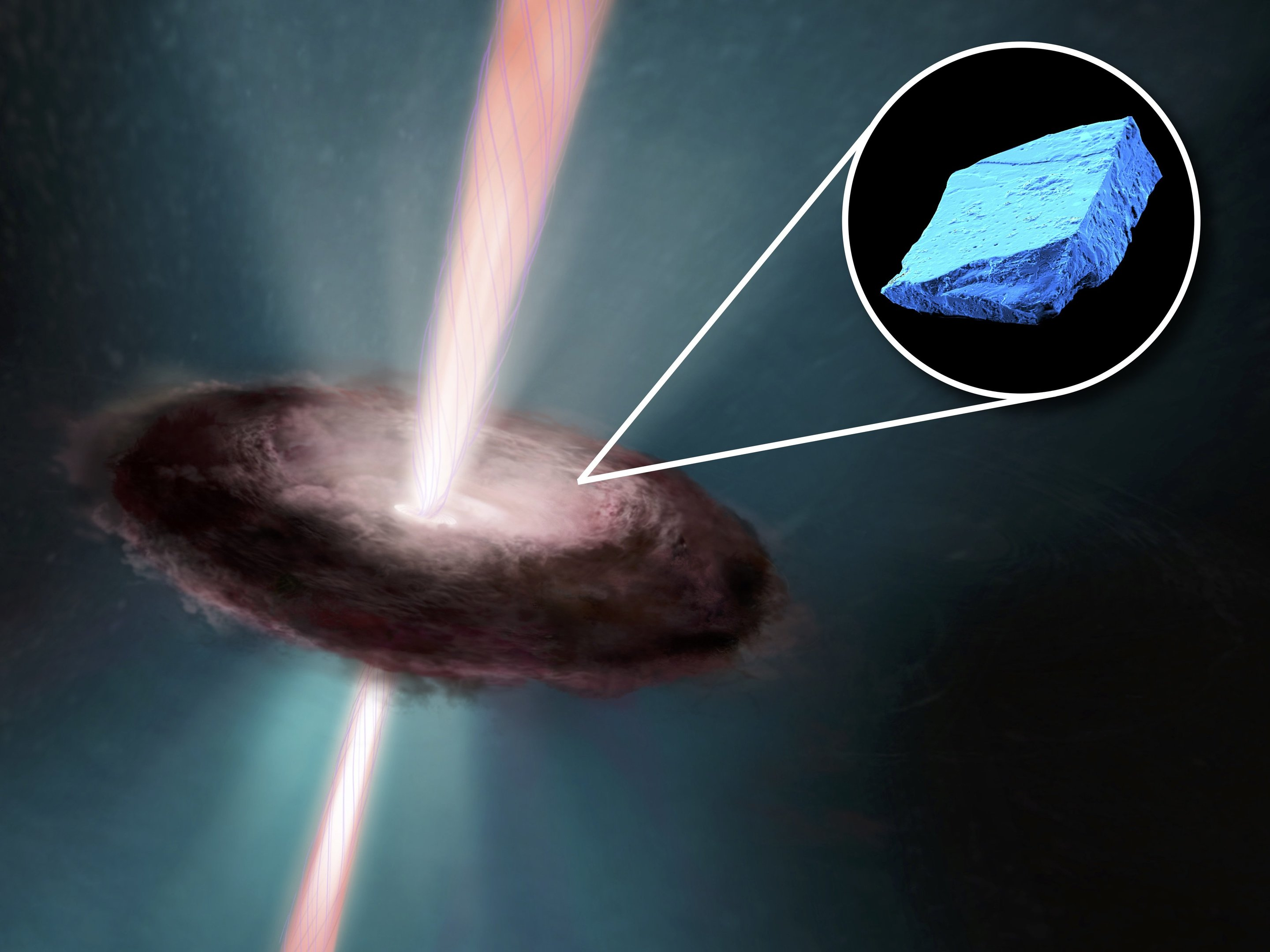 Blue crystals in meteorites show that our Sun went through the 'terrible twos'
