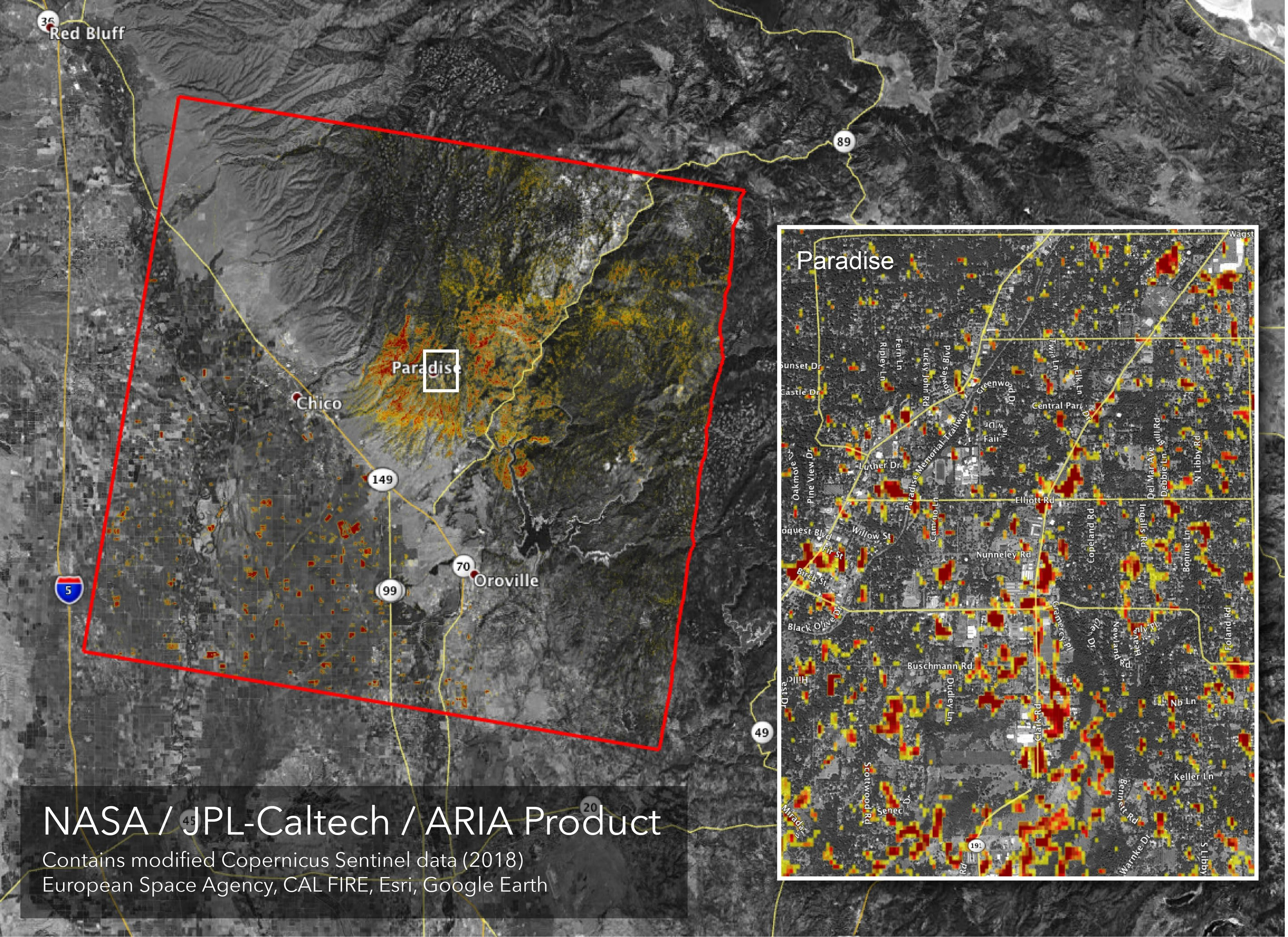 Newman California Map.Image Updated Nasa Damage Map Of Camp Fire From Space