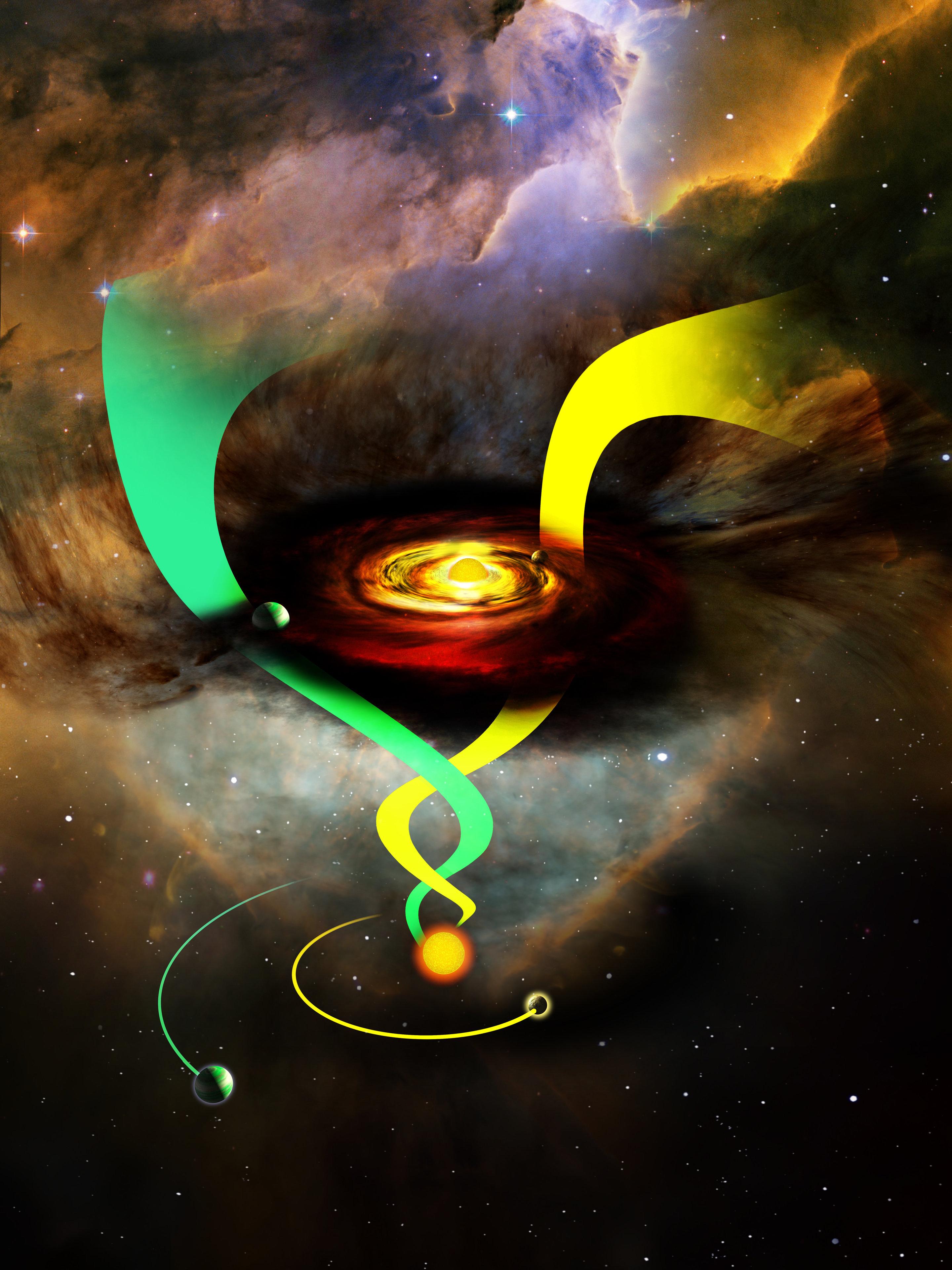 Rappresentazione artistica di influenza stellare sulle orbite. Credit SDSS collaboration