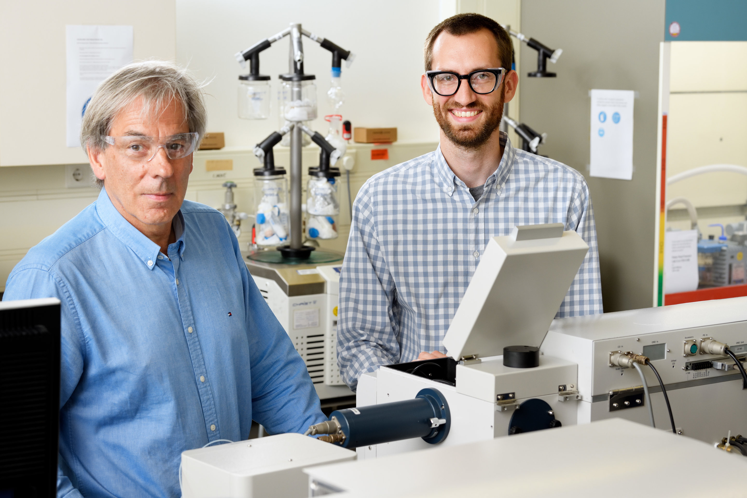Bert Meijer, Professor Of Organic Chemistry, And Post Doctoral Researcher  Nathan Van Zee. Credit: Bart Van Overbeeke