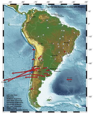 show how far South American cities moved in quake