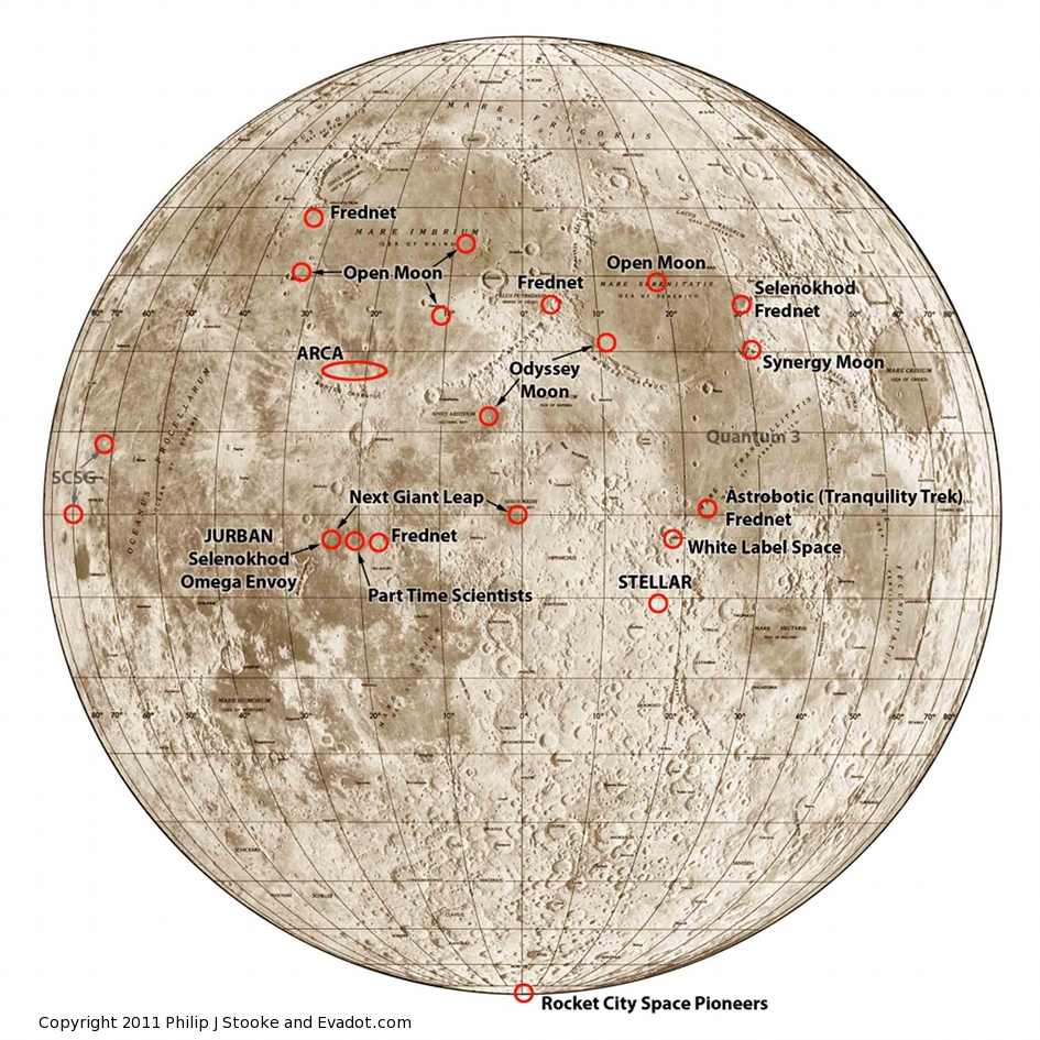 lunar landing sites mapped out