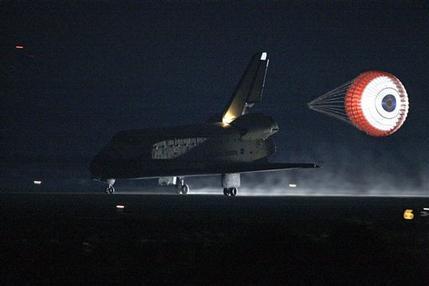 space shuttle landing at night - photo #24