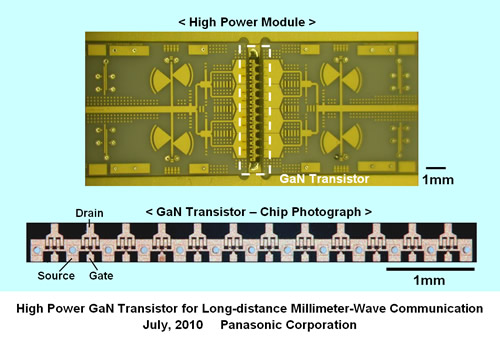 Panasonic Develops High Power Gallium Nitride Transistor