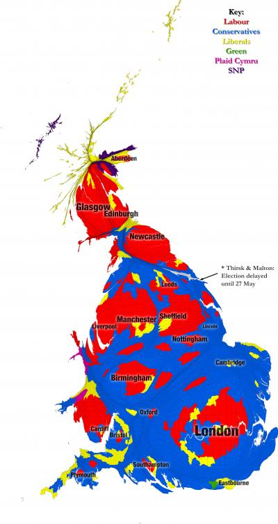 Political Map Of Uk.Unique Map Shows Uk General Election Results In New Light