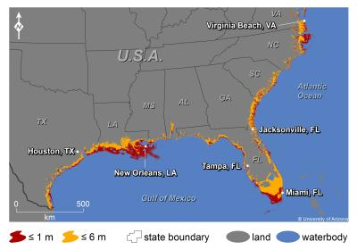 Seas Will Affect Major US Coastal Cities By - Projected sea level rise map